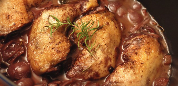 Huhn in Rotwein mit Champignons und Schalotten